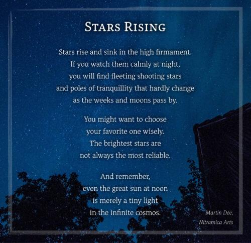 """Das Bildgedichte """"Stars Rising"""", gelayoutet mit der Schriftart Alkes (Grafik und Text: Martin Dühning)"""