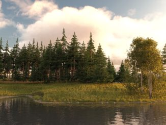 Alpensee - gerendert mit DAZ Studio und Howie Farkes UltraScenery-Plugin (Grafik: Martin Dühning)