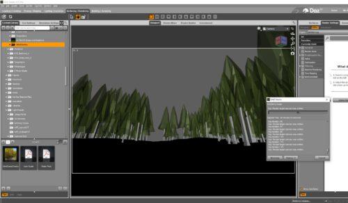 Waldwegszene in DAZ Studio (Screenshot)