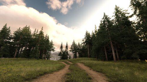 Der fertig gerenderte Bergweg im Morgendämmer (Grafik: Martin Dühning)